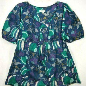 Liz Lange Women S Maternity Top Blue Floral Short